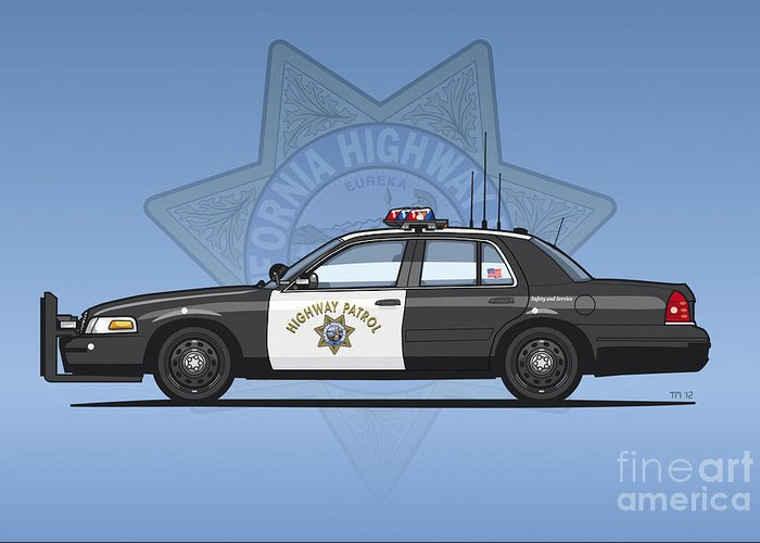 Police Cruiser Digital Art Greeting Cards