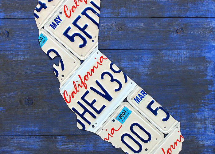 California Greeting Card featuring the mixed media California License Plate Map On Blue by Design Turnpike