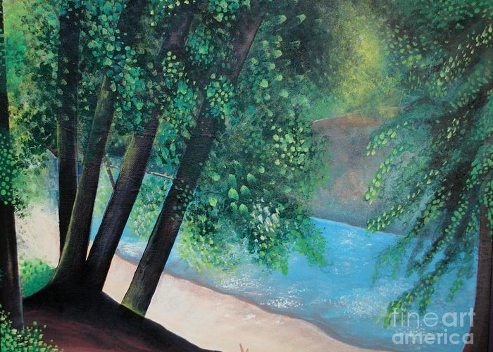Landscape Greeting Card featuring the painting California Magic by Helena Tiainen