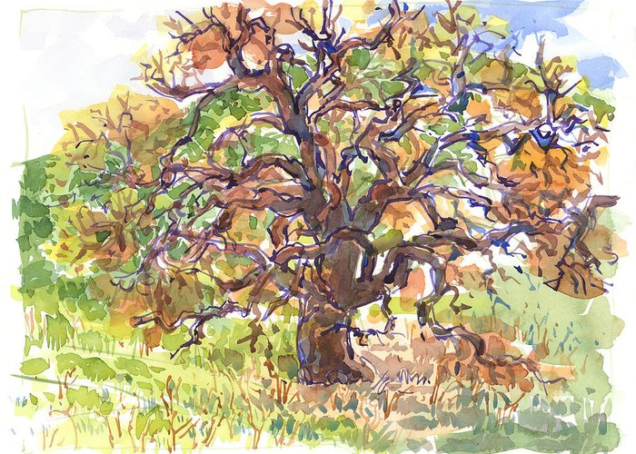 Landscape Greeting Card featuring the painting California Oak In Winter by Judith Kunzle