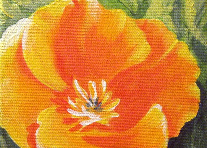 Poppy Greeting Card featuring the painting California Poppy by Sharon Marcella Marston