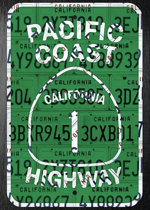 California Greeting Card featuring the mixed media California Route 1 Pacific Coast Highway Sign Recycled Vintage License Plate Art by Design Turnpike