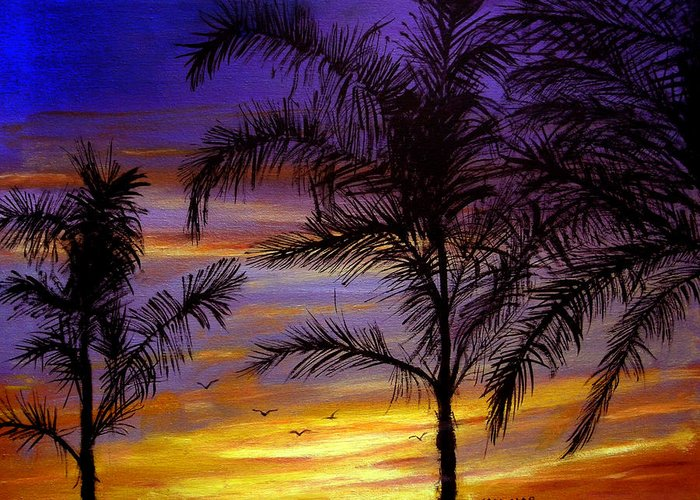 Landscape Greeting Card featuring the painting California Sunset by Olga Kaczmar