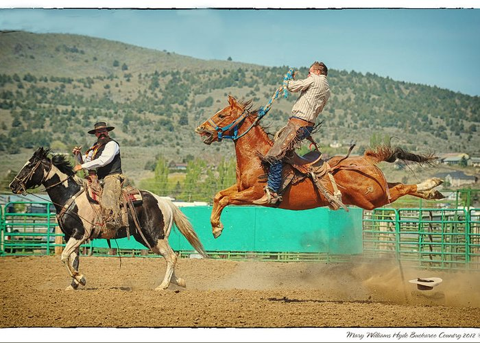 Ranch Greeting Card featuring the photograph Californios Burns Ranch Bronc 2012 by Mary Williams Hyde