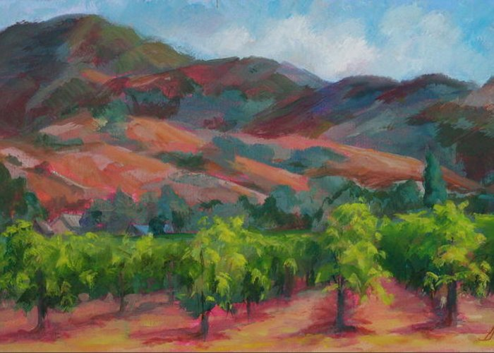 Calistoga Greeting Card featuring the painting Calistoga Vineyards by Deirdre Shibano