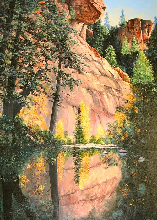 Connie Tom Greeting Card featuring the painting Call Of The Canyon by Connie Tom