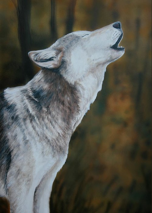 Wolf Greeting Card featuring the painting Call Of The Wild by Charlotte Yealey