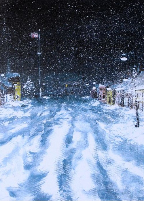 Snow Greeting Card featuring the painting Call Out The Plows by Jack Skinner