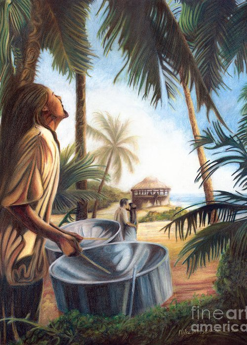 Tropical Greeting Card featuring the painting Call To Paradise by Mike Massengale
