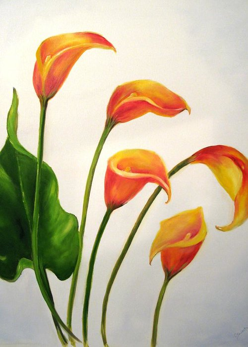 Calla Lilies Greeting Card featuring the painting Calla Lilies by Carol Sweetwood