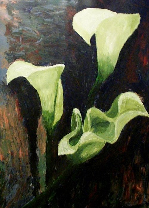 Nature Greeting Card featuring the painting Calla Lilies by Mats Eriksson