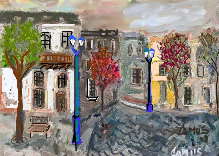 Art Greeting Card featuring the painting Calle Chile by Carlos Camus