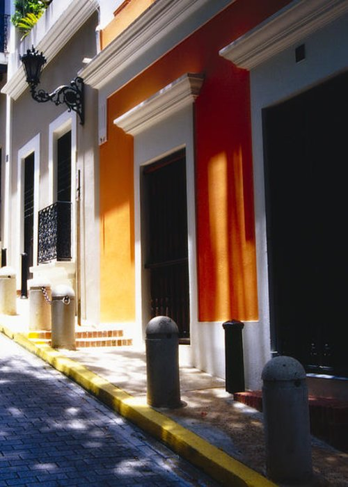 Street Photography Greeting Card featuring the photograph Calle Del Sol Old San Juan Puerto Rico by George Oze