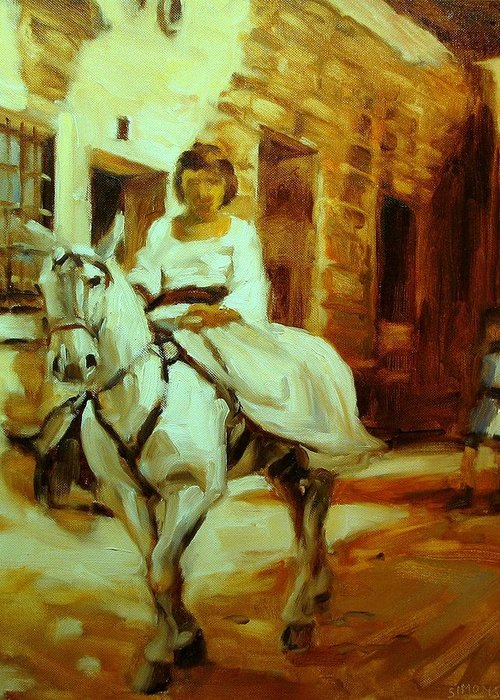 Horse Paintings Greeting Card featuring the painting Callebo by Brian Simons