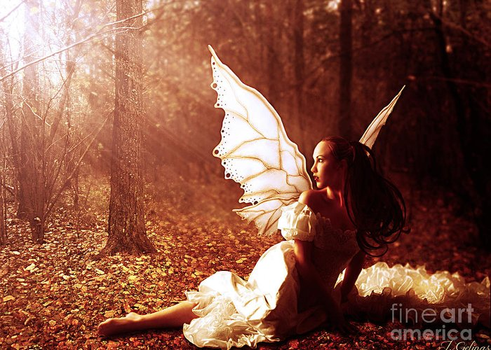 Fairy Greeting Card featuring the digital art Called Home by Jennifer Gelinas