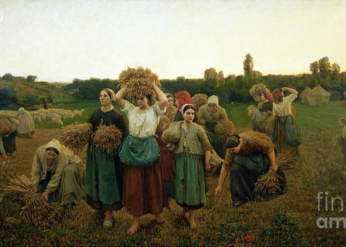 Calling Greeting Card featuring the painting Calling In The Gleaners by Jules Breton