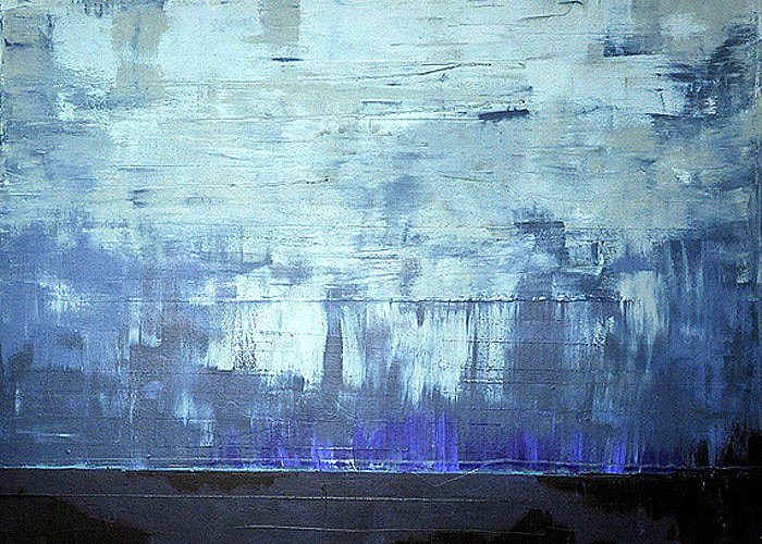 Abstract. Blue Greeting Card featuring the painting Calm Before by Kate Tesch