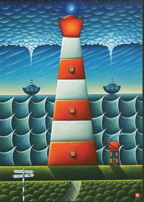 Lighthouse Greeting Card featuring the painting Calm Before The Storm by Connor Maguire