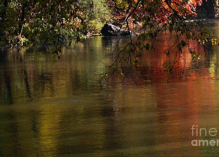 River Greeting Card featuring the photograph Calm Reflection by Linda Shafer