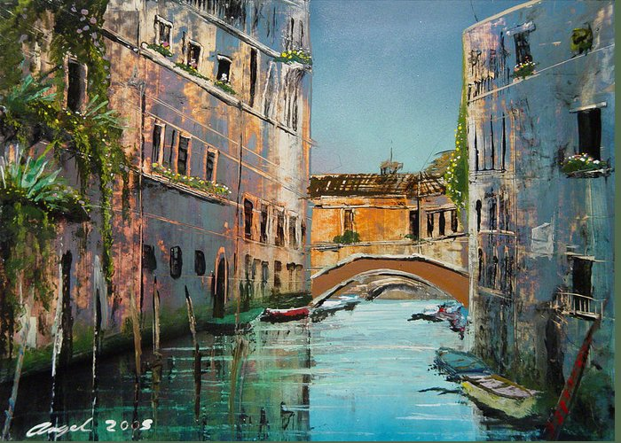 Vanice Greeting Card featuring the painting Calma Venice by Angel Ortiz