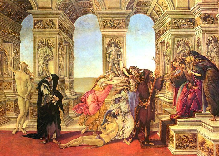 Sandro Botticelli Greeting Card featuring the painting Calumny Of Apelles by Sandro Botticelli