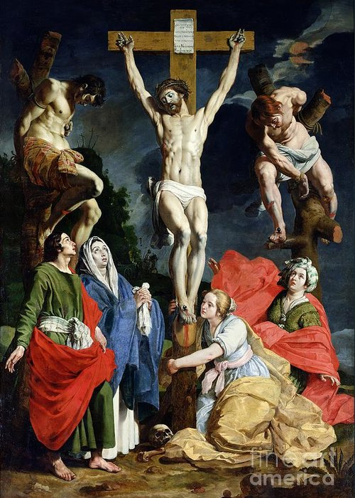 Calvary Greeting Card featuring the painting Calvary by Abraham Janssens van Nuyssen
