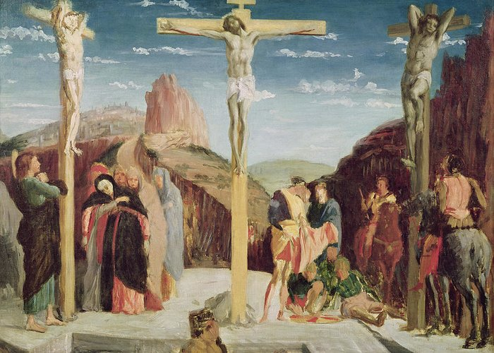 Calvary Greeting Card featuring the painting Calvary by Andrea Mantegna