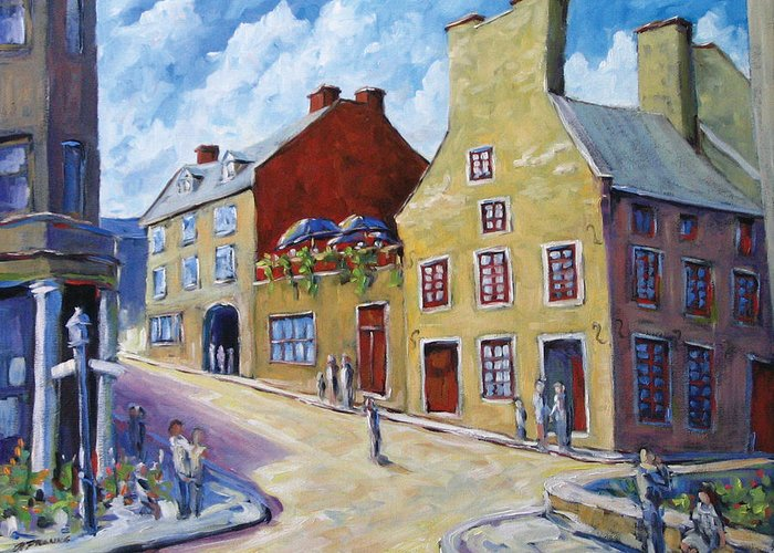Rural Greeting Card featuring the painting Calvet House Old Montreal by Richard T Pranke