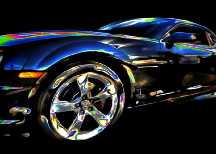 Tires; Bumpers; Grills; Lights; Doors; Blue; White; Gray; Black; Windows; Wheels; Transportations; Automobiles; Autos; Rims; Green; Red Greeting Card featuring the digital art Camaro by Fli Art
