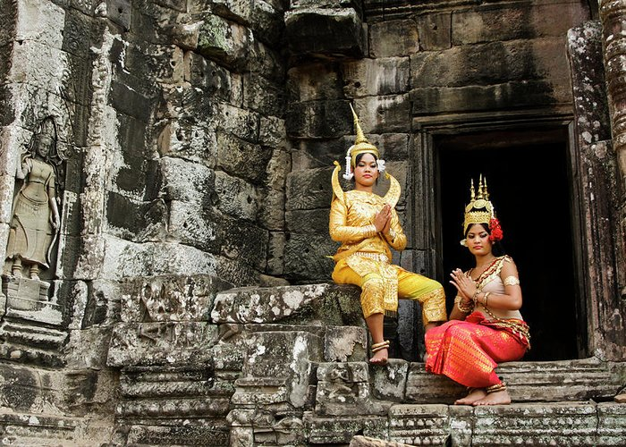 Asia Greeting Card featuring the photograph Cambodian Dancers At Angkor Thom by Michele Burgess