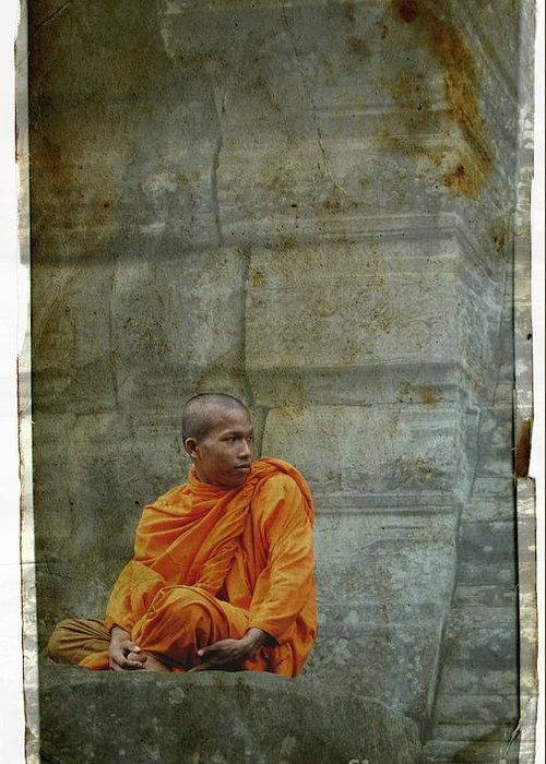 Monk Greeting Card featuring the photograph Cambodian Monk At Angkor Wat by Louise Fahy
