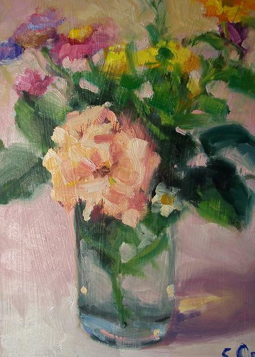 Painting Greeting Card featuring the painting Cambria Flowers by Susan Jenkins
