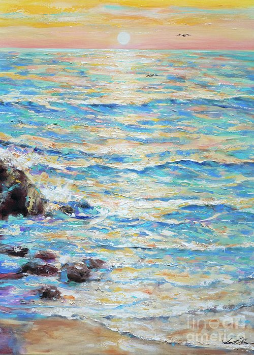 Ocean Greeting Card featuring the painting Cambria Rocks by Linda Olsen