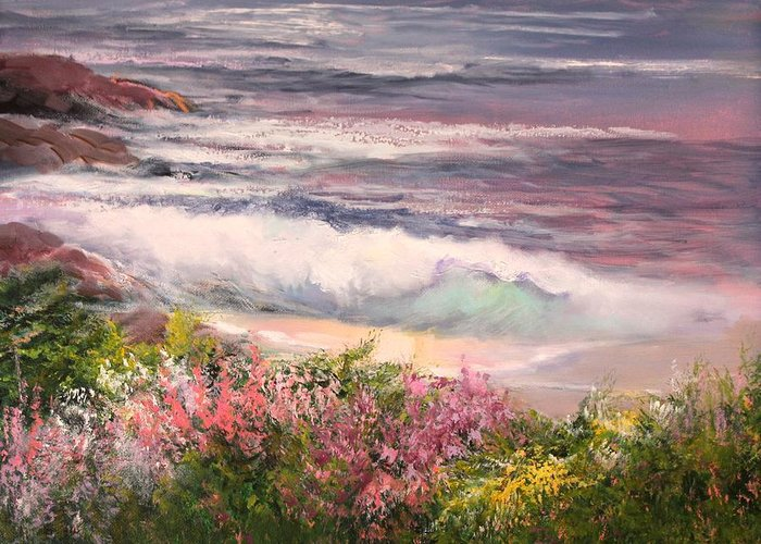 Spring Greeting Card featuring the painting Cambria Spring by Sally Seago