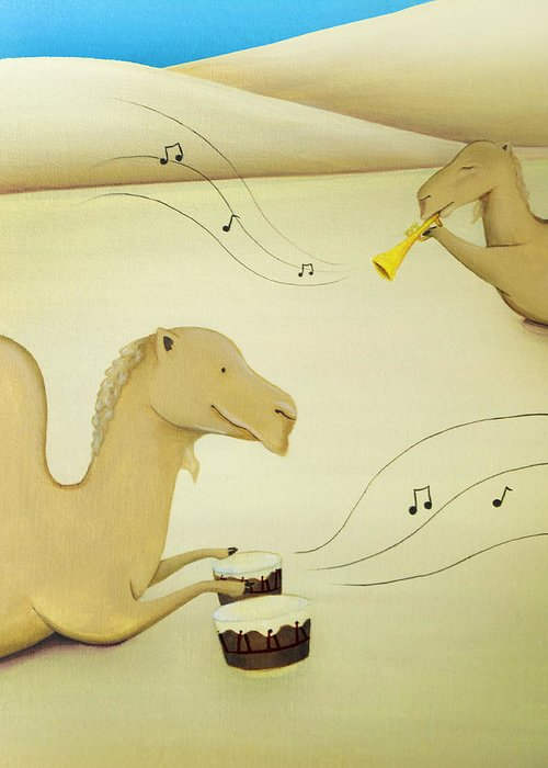 Camels Greeting Card featuring the painting Camel Band by Lael Borduin