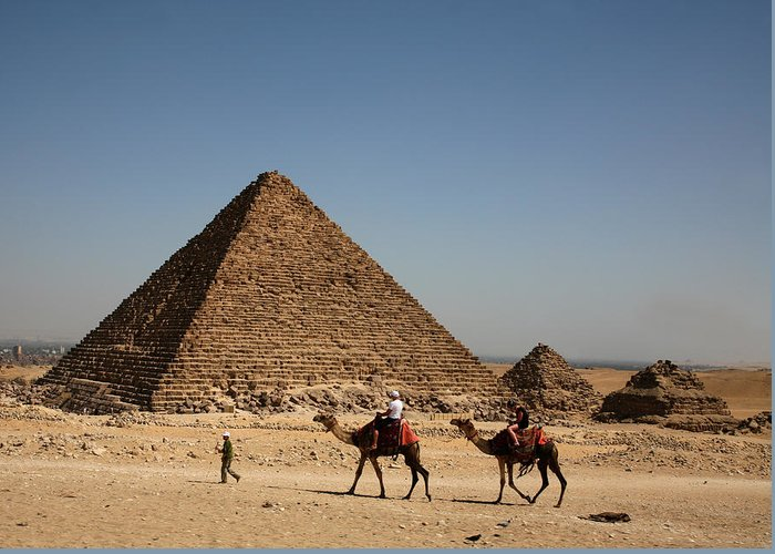 Camels Greeting Card featuring the photograph Camel Ride At The Pyramids by Donna Corless