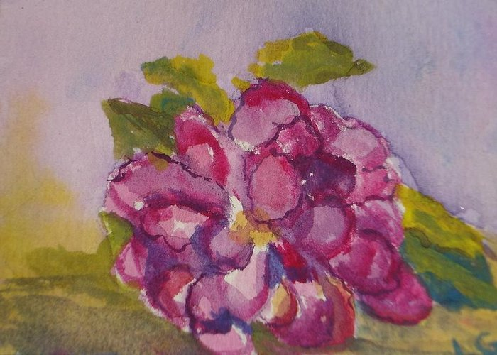 Flower Greeting Card featuring the painting Camellia by Lessandra Grimley