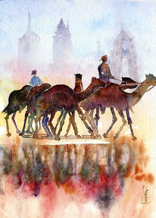 Camels Greeting Card featuring the painting Camelrider by Beena Samuel