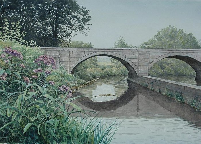 Landscape Greeting Card featuring the painting Camillus Canal by Stephen Bluto
