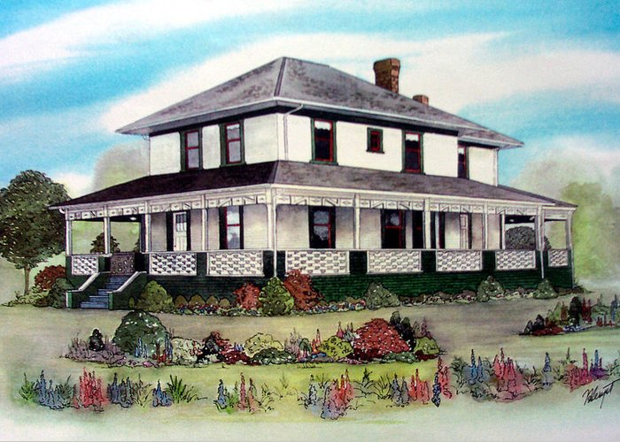 House Greeting Card featuring the painting Cammidge House by Victoria Heryet