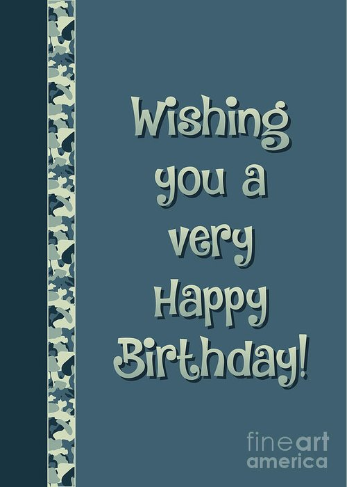 Camo Very Happy Birthday Greeting Card For Sale By Jh Designs
