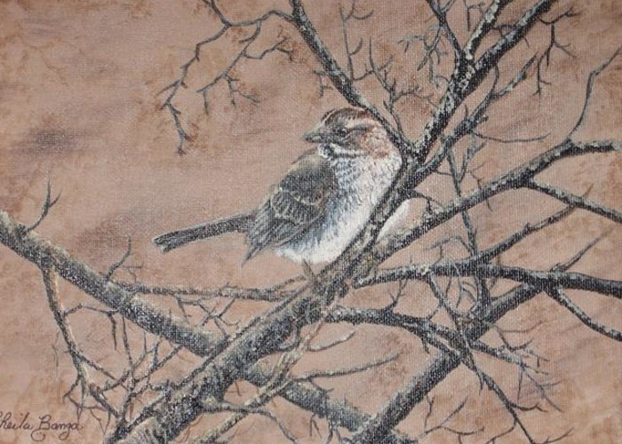 Bird Greeting Card featuring the painting Camouflage by Sheila Banga