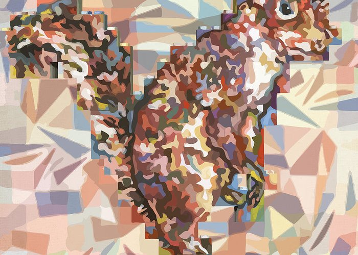 Karl Greeting Card featuring the digital art Camouflage Squirrel by Karl Frey