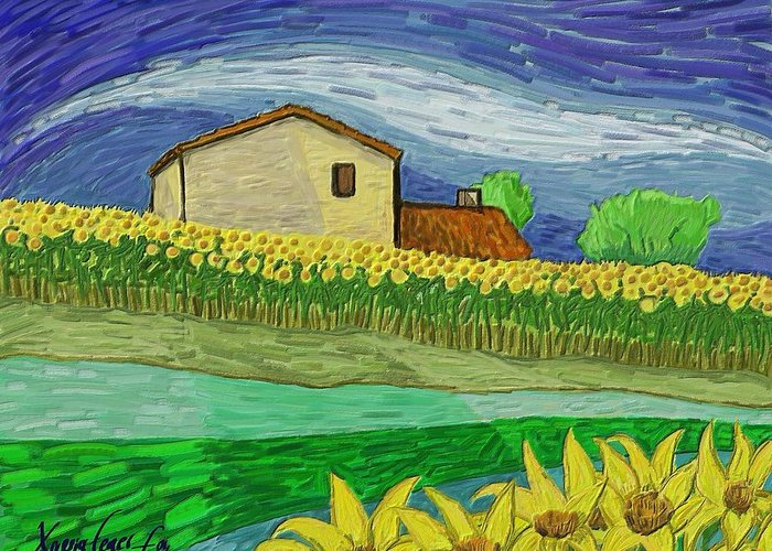 Figurative Greeting Card featuring the painting Camp De Girasols by Xavier Ferrer