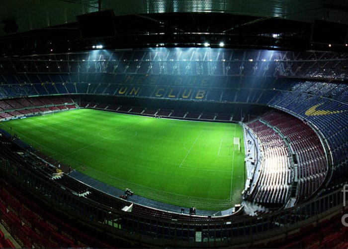 Camp Nou Greeting Card featuring the photograph Camp Nou At Night by Agusti Pardo Rossello