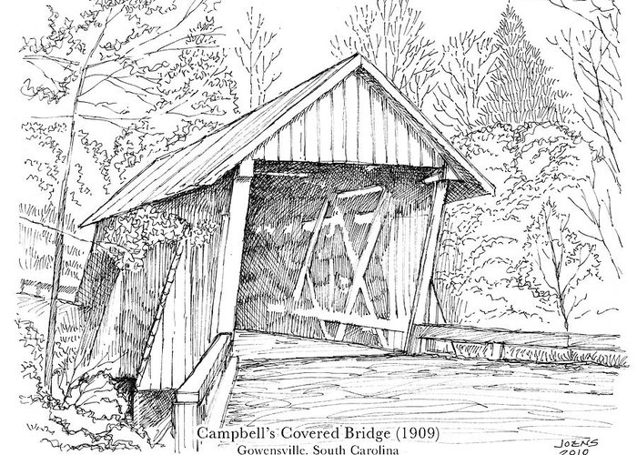 Covered Bridge Drawings Greeting Cards