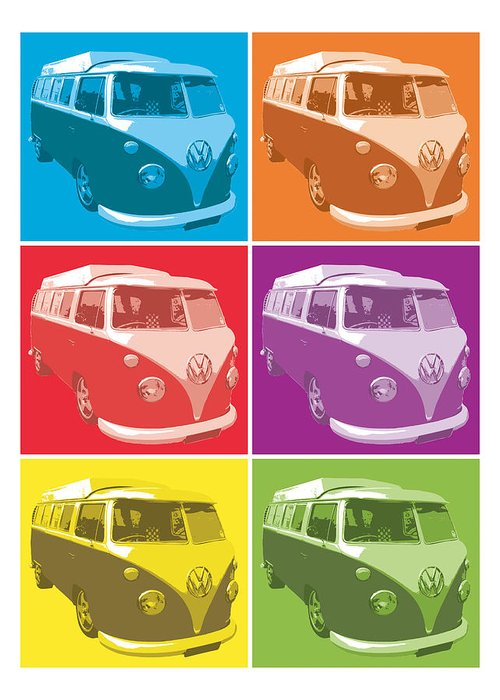 Vw Camper Van Greeting Card featuring the digital art Camper Van Pop Art by Michael Tompsett