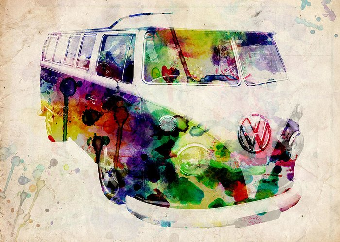 Psychedelic Van Greeting Cards
