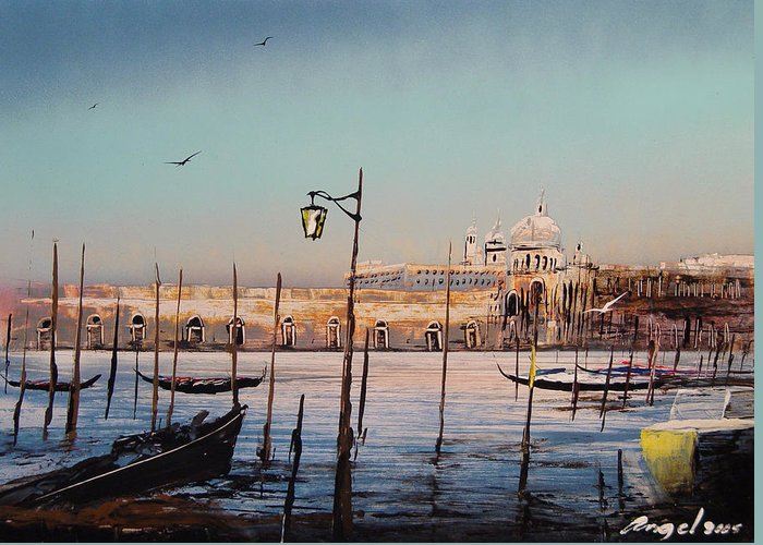 Greeting Card featuring the painting Campo Sallute Venice by Angel Ortiz
