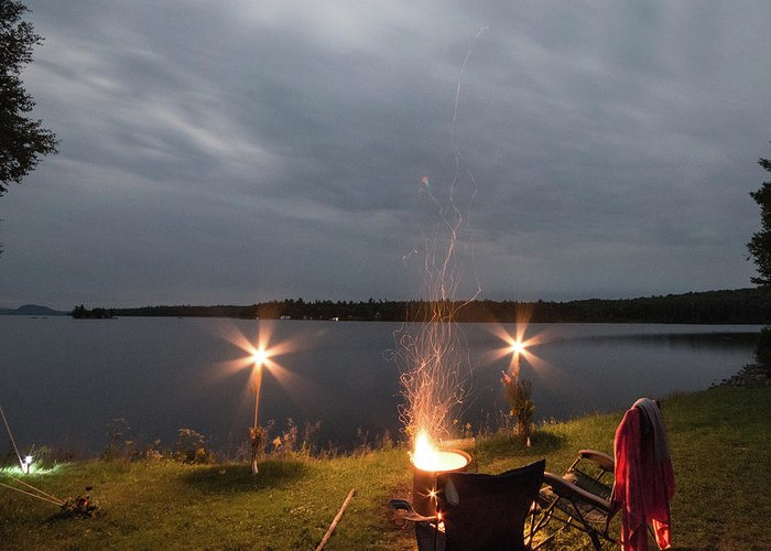 Camping Greeting Card featuring the photograph Campsite Lakeside by Justin Mountain